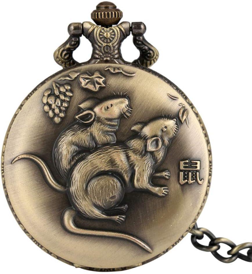 STEDMNY Reloj de Bolsillo Full Hunter Retro Chinese Zodiac Rat Design Colgante Reloj Antiguo Collar de Bronce Reloj Cadenas Fob