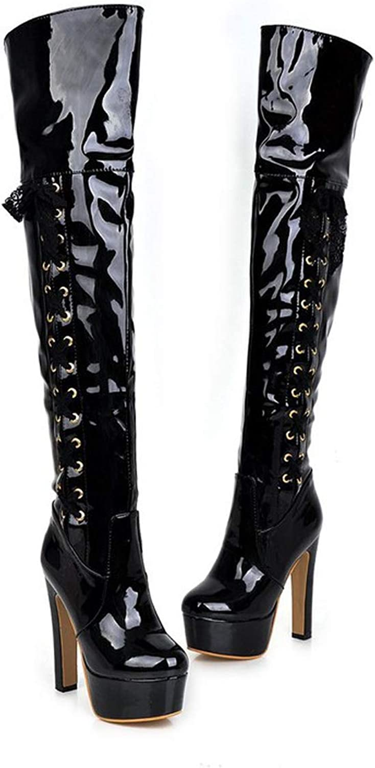 Over Knee Boots Womens Winter Fall Long-barreled Boots with Super High Heel Boots for Pole Dance Party Club