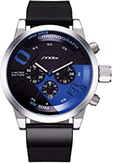 SINOBI Chronograph Watches for Strong Men 5bar Waterproof Outdoor Sports Wristwatch Silicone Strap Clock