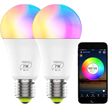 Color Changing LED Light Bulb Smart WiFi Light Bulbs Dimmable RGBCW 2700K-6500K 60 Watt Equivalent Led Light Bulb Works with Alexa, Echo, Google Home for Home Decor, Party Decor for Christmas(2 Pack)