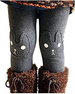 Kids Girls Winter Leggings Bunny Printed Thick Warm Fleece Pants for 2-7 Years