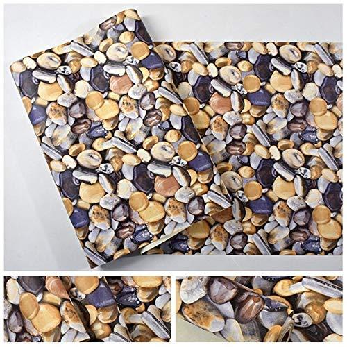 kengbi Fácil de decorar papeles pintados duraderos 3D Papel pintado de vinilo adoquines modernos para sala de estar, TV, decoración de dormitorio, mural 3D (color: piedra, dimensiones: 0,53 x 9,5 m)