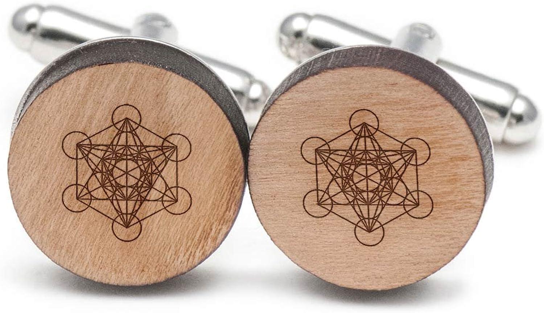 Metatrons Cube Cufflinks, Wood Cufflinks Hand Made in in in the USA 7b450c