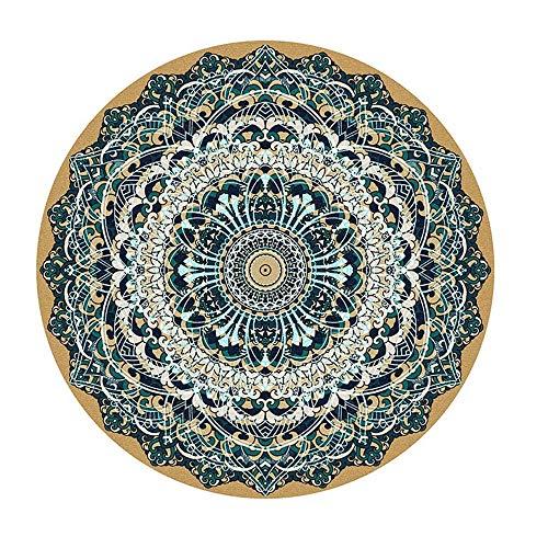 TEPPICH-CY-ZK Facil De Mantener Interioresalfombras Alfombra Boho Redonda con Motivos Florales Tradicionales Decoracion Interior Juegos Infantiles Alfombra 80X80CM
