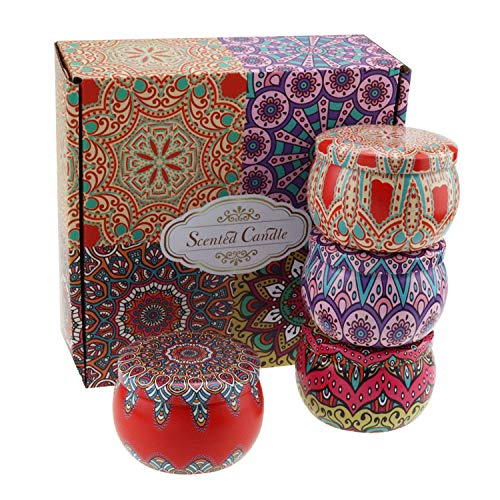 DDD123 Aromatherapy Candle Gift Set,Natural Soy Wax Essential Oil,Used in Household Perfumes,Gifts for Mother's Day,Anniversary,Home Decor,Stress Relief (Four-piece set of flowers)