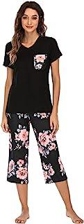 Famulily Pajamas Women Cotton Comfy Pajamas, Ladies Pyjamas Set Floral Printing Short Sleeve Loungewear Top and Wide Leg P...