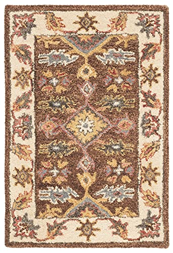 Safavieh Antiquity Collection AT502T Handmade Traditional Oriental Premium Wool Accent Rug, 2' x 3', Dark Brown / Ivory