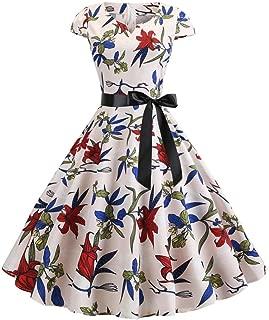 BCDshop Fashion Women Short Sleeve Bow Knot Tie Up Top Sunflower Print Mini Short Dress