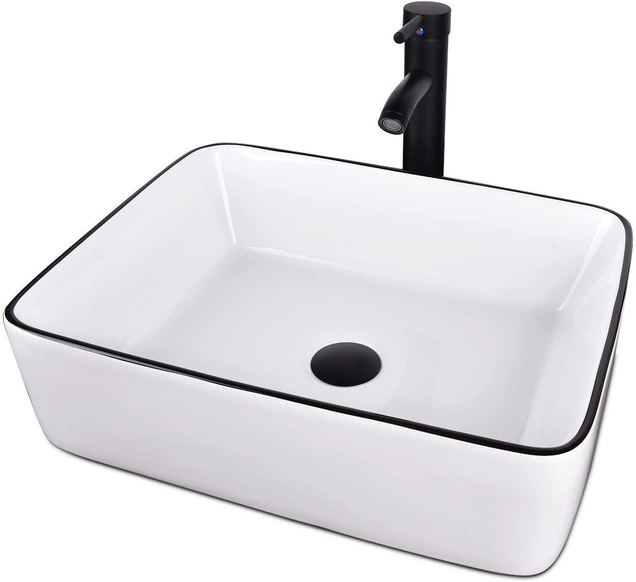 Buy White Ceramic Bathroom Sink Above Counter Porcelain Vessel Sink With Black Faucet And Pop Up Drain Combo Rectangle Online In Turkey B0828x97km