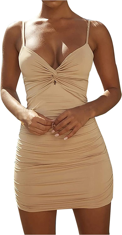 Women's Bodycon Dress V-Neck Sleeveless Sexy Dress Backless Slim Cami Dress Tight Fit Party Dress