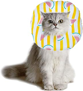 KAMEIOU Cute Pet Cat Recovery Cone E Collar Soft Cotton Padded Ring Neck Pillow Head Cover Comfy E Collar Adjustable Cartoon Soft-Side Cones Collar After Surgery for Cats Small Dogs