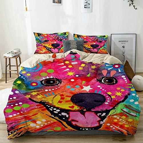 MAYBELOST Bedding Juego de Funda de Edredón,Beige,Perro Esquimal Americano Mascota Retratos Graffiti Pop Animal,Microfibra NO LLENAR,(Cama 240x260 + Almohada)
