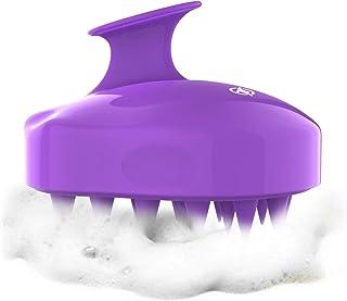 Shampoo Brush Hair Scalp Massager, FReatech [Wet & Dry] Hair Scalp Massage Brush Soft Silicone Comb for Men, Women, Kids and Pets - Purple
