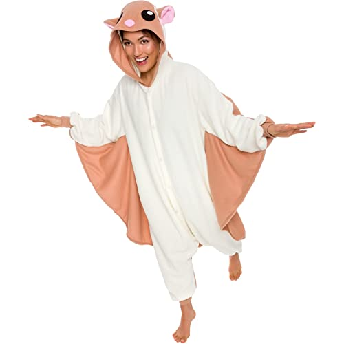 4a55232e86 Silver Lilly Unisex Adult Pajamas - Plush One Piece Cosplay Flying Squirrel  Animal Costume