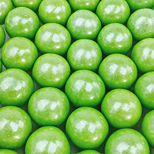 "Shimmer Lime Green Gumballs - 2 Pound Bags - Large - One Inch in Diameter - About 120 Gumballs Per Bag - Free ""How To Build a Candy Buffet"" Guide Included"