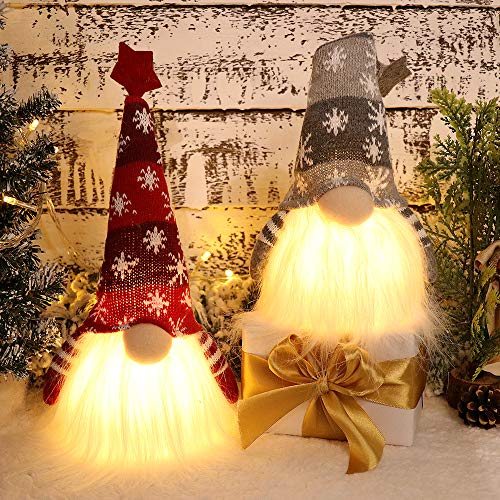 XAMSHOR Handmade Christmas Gnome Tomte with Light, Plush Elf Scandinavian Santa with Bendable Nordic Hat for Home Table Decorations Gift Set of 2, 11.8x5.5 inches