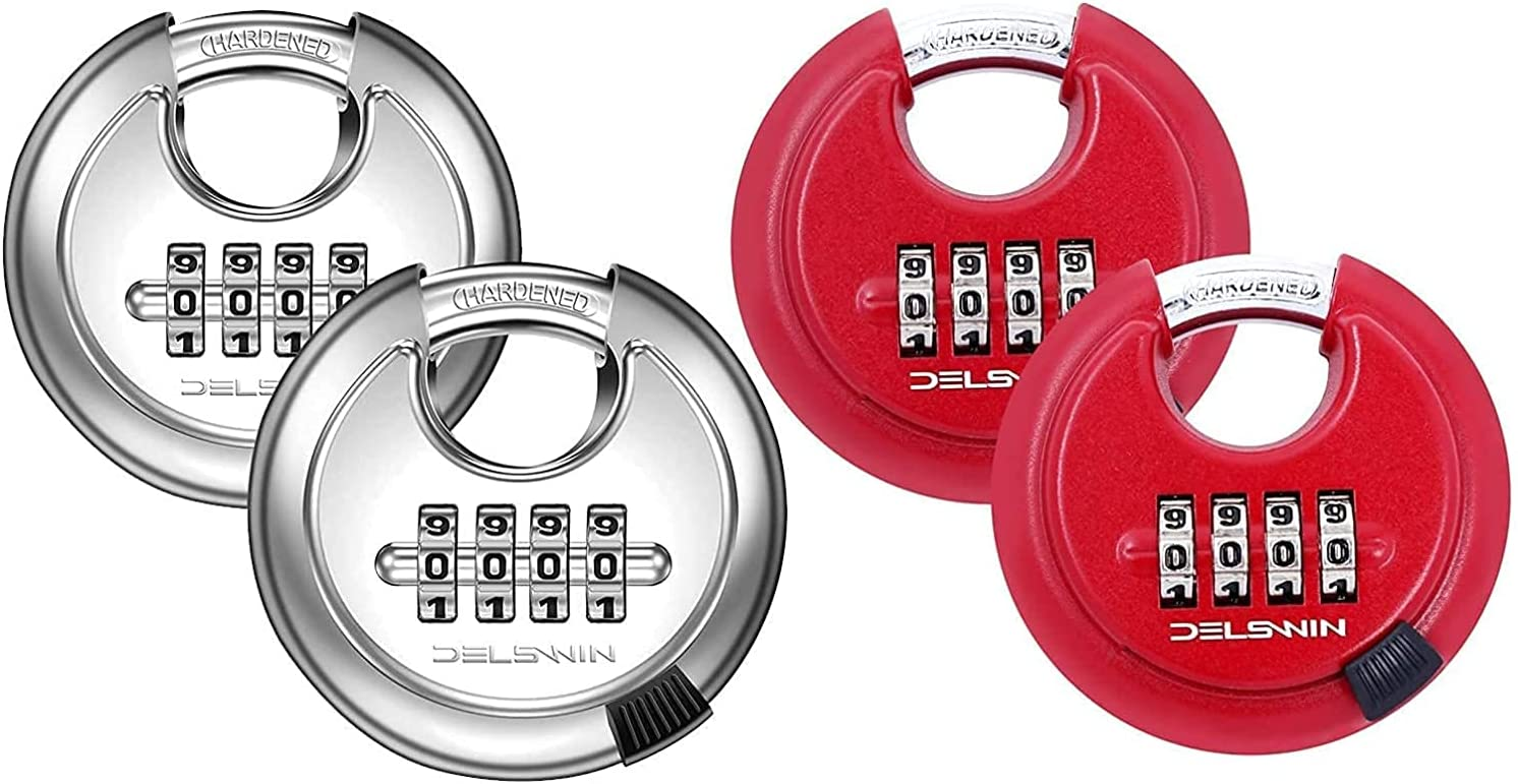 4 years warranty Max 70% OFF Disc Combination Padlock Silver Red