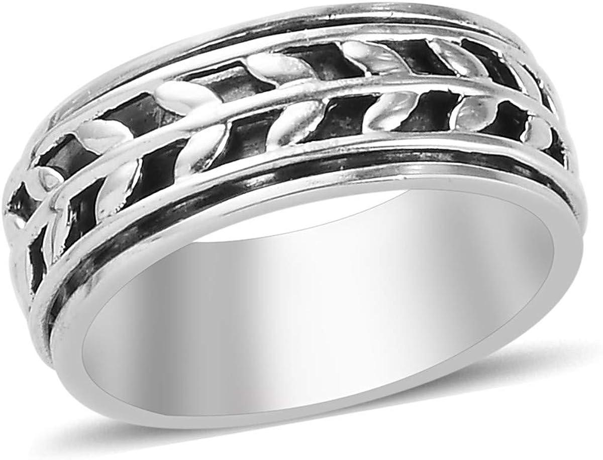 Shop LC Mens Bargain sale Womens Spinner Band 5 popular Statem 925 Silver Sterling Ring