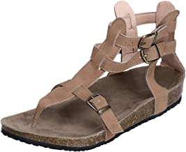 POPLY Womens Flat Sandal Summer Shoes Buckle Strap Peep-Toe Low Shoes Roman Sandals Ladies Flip Flops Flat Shoes Women Platform Shoes UK Size 2.5-7