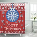 lovedomi Duschvorhang Rot Frohe Weihnachten & Neujahr Gestrickte Kugeln Schneeflocken Duschvorhang-Sets mit 12 Haken 72 x 72 Zoll wasserdichtes Polyestergewebe