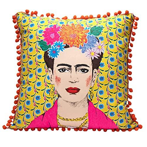 Cojín y Funda de Frida Kahlo Amarillo con Pompones |Almohada Decorativa Boho para decoración del hogar, Regalos inspiradores para Mujeres, Dormitorio, sofá, Silla