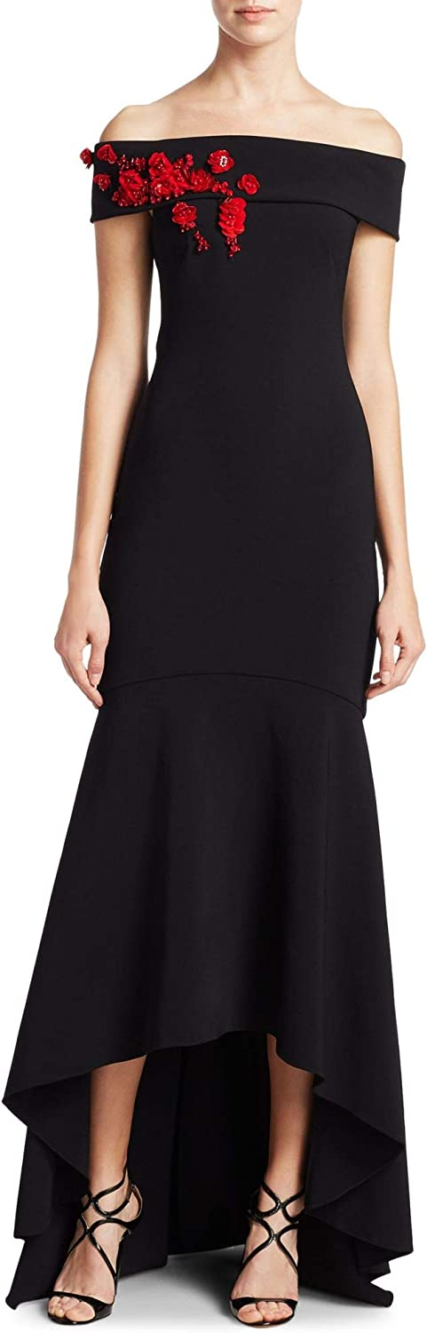 Theia Off The Shoulder HiLow Evening Gown Dress
