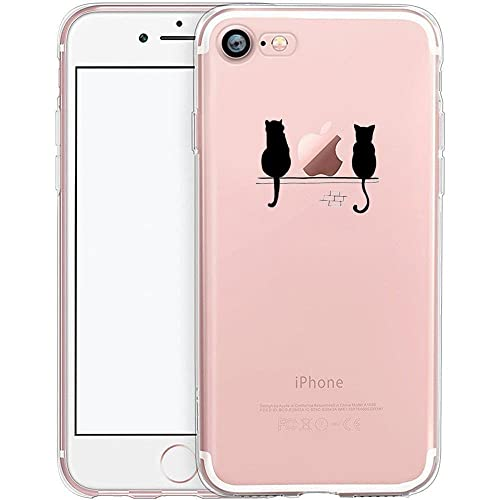 iPhone 7 Case, iPhone 7 Cover, UCMDA Slim Clear Soft Silicone Gel Protective Case [Anti-Scratch], TPU Rubber Bumper Phone Case Cover for Apple iPhone 7 4.7 Inch- Cute Cats