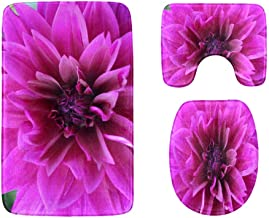 Colorful Chrysanthemum Flower Bathroom Rug Mats Set 3-Piece,Soft Shower Bath Rugs,Contour Mat and Toilet Seat Lid Cover No...