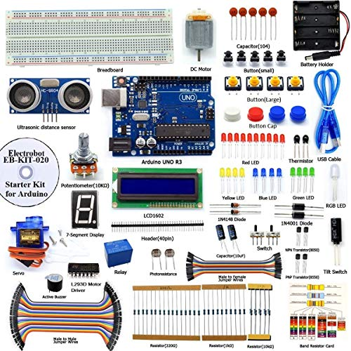 Electrobot DIY Ultrasonic Distance Sensor Starter Kit for UNO R3, LCD1602, Breadboad, DC Motor, Starter/Beginner Kit for Uno R3 microcontroller with User Manual/Guidebook(PDF) and C Code