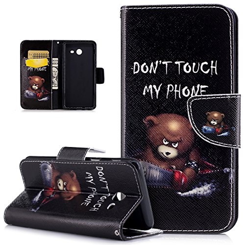 Coque Galaxy J5 2017,Peint Art coloré Motif Etui Housse Cuir PU Housse Etui Coque Portefeuille Protection supporter Flip Case Etui Housse Coque pour Galaxy J5 2017,Chainsaw Ours Don't Touch Py Phone