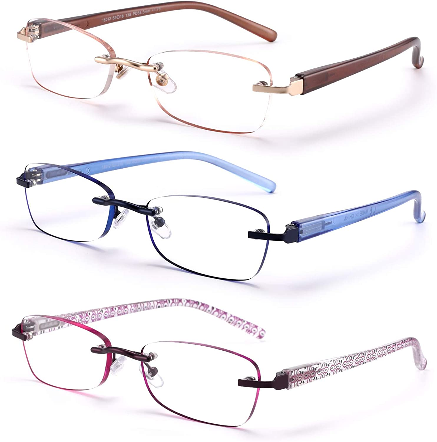 FEIVSN Max 66% OFF Super popular specialty store 3-Pack Rimless Reading Glasses Women Lightweight Spr For
