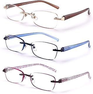 FEIVSN 3-Pack Rimless Reading Glasses For Women, Lightweight Spring Hinge Readers, Classic Elegant Artistic Eyeglasses UV 400