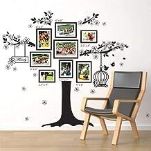 Walplus Vinyl muursticker, motief: familieboom met fotolijst en vogelkooi, zelfklevend, verwijderbaar, ter decoratie van w...