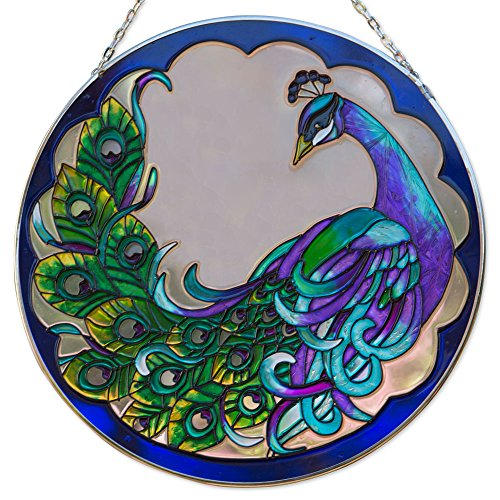 Bits and Pieces Peacock Art Glass Suncatcher - The Majestic Peacock is Captured in an Artistic suncatcher - A Striking Gift 9-7/8