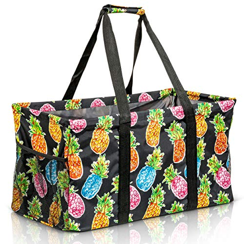 Extra Large Utility Tote Bag - Oversized Collapsible Reusable Wire Frame Rectangular Canvas Basket With Two Exterior Pockets For Beach, Pool, Laundry, Car Trunk, Storage - Pineapple