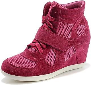 rismart Femme Chaussures Formel Caché Talon Coin Boucle Suède Tissu Baskets