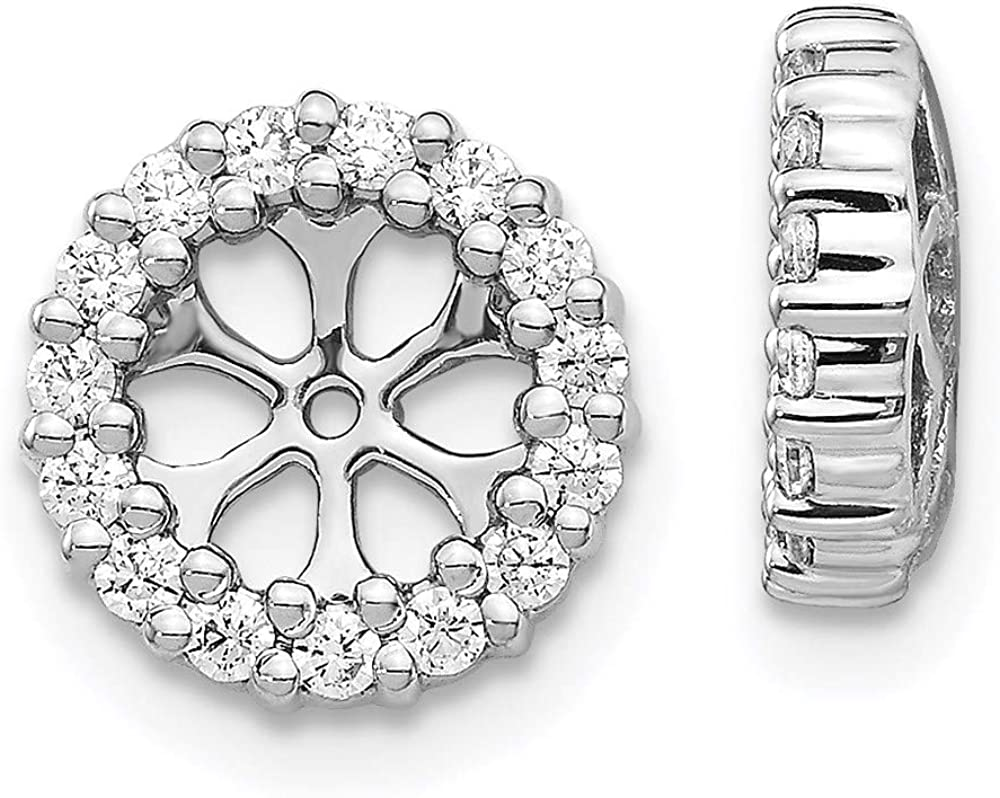 14K White Gold Diamond Round Earring Jackets 5.25 mm Opening for Stud Earrings (0.45Cttw)