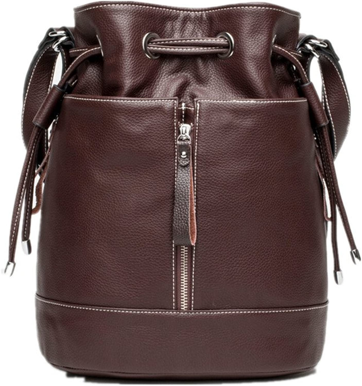 S-BBG Genuine Leather Travel Backpack Shoulder Bags Drawstring Bucket Bag Satchel 3Way