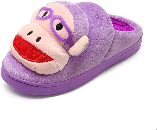 Y-Hui invierno zapatillas de algodón amantes femeninos Home inferior grueso Calzado Antideslizante semi-remolque,36-37 (3435 pies),Farbe lila