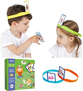 Womdee Hedbanz Family Quick Question Guessing Board Game,Guessing Game Cards for Kids with 4 Headbands and 60 Puzzle Cards,What Am I Game Allow 2 to 4 Player Headbands Game for Family