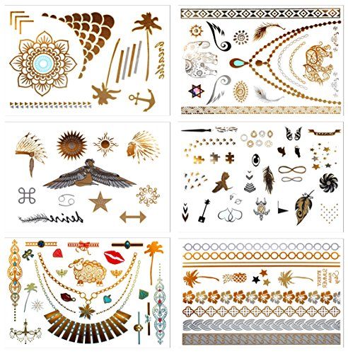 Tatuaggi temporanei metallici, Prettydate 6fogli 75+ gioielli di design in oro, argento, nero, falso glitter tattoos- bracciali, collane, cinturino, cavigliere e Armband  Tropics Collection
