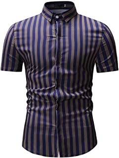 Qiyun Autumn Shirt Men New Striped Casual Cotton Blend Short Sleeve Shirt Tops