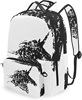 SLHFPX Women/Men Backpack Black And White Unicorn Bookbag College School Shoulder Bag Daypack Travel Rucksack for Youth