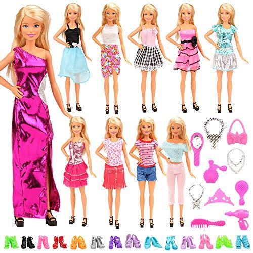 Miunana 30 Item = 10 Kleider + 10 Paar Schuhe + 10 Zubehör, Röcke Puppenzubehör Outfit Kleidung für 11,5 Zoll Mädchen Puppen