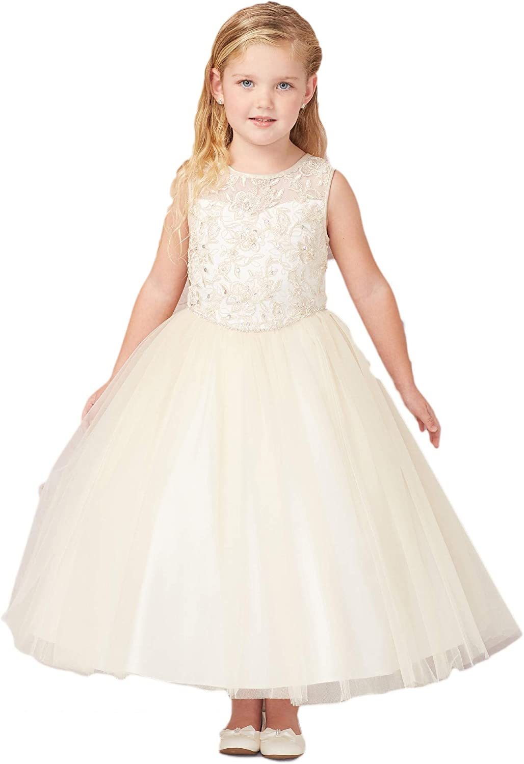 Tip Top Kids Little Girls Champagne Illusion Lace Tulle Flower Girl Easter Dress 2-6