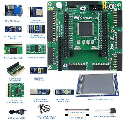 Designed for ALTERA Cyclone IV Series, Features the EP4CE6 Onboard, Open Source Electronic Hardware EP4CE6 FPGA Development Board Kit, Uses With Nios II Processor, With DVK601 Mother Board, etc.