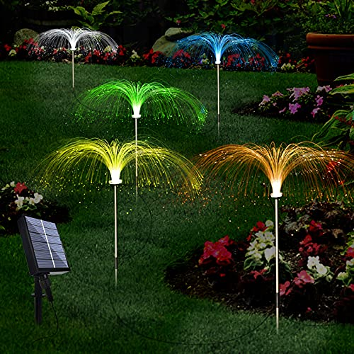 Upgraded Solar Garden Lights Outdoor 5 Pack, 7 Color Changing Solar Flowers Garden Lights, Waterproof Outdoor Decorative Solar Jellyfish Light for Yard Patio Garden Pathway Holiday Decorations
