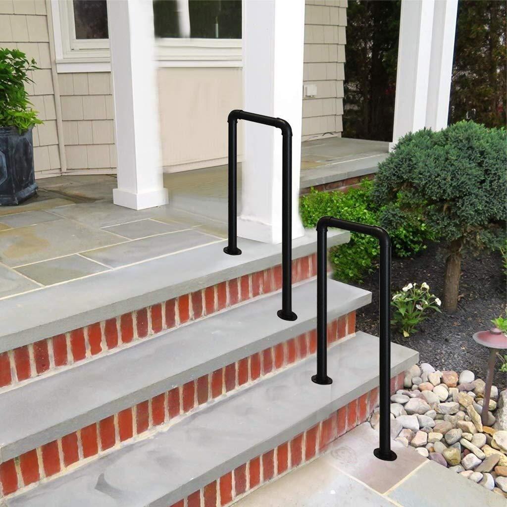 FS Pasamanos de Escalera de Hierro Forjado, Barra de Soporte de peldaño en Forma de U de 2/4 escalones, barandilla de Seguridad for jardín Exterior de Pasillo (Color : 4step, Size :