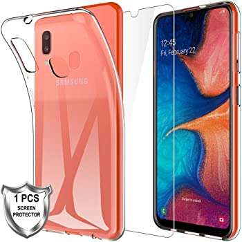 MP-MALL Case for Samsung Galaxy A20e + [1 x Tempered Glass Screen Protector], Soft Premium TPU Shock-Absorption Silicone Transparent Protective Cover for Samsung Galaxy A20e - Clear