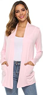 Women's Casual Lightweight Fall Soft Open Front Long Sleeve Cardigans Sweater with Pockets